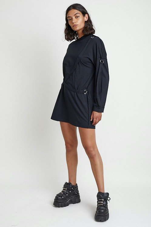 THE RAGGED PRIEST BLACK LONGSLEEVE DRESS WITH STRAPS