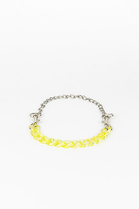 LUI TRASH PLASTIC CHAIN NECKLACE WITH KARABINER YELLOW