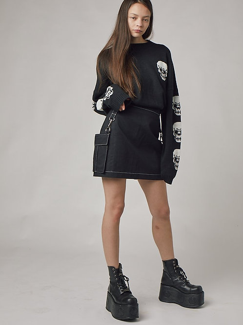 THE RAGGED PRIEST BLACK SKIRT WITH BAGS