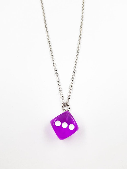 EXIT PURPLE PINK DICE NECKLACE