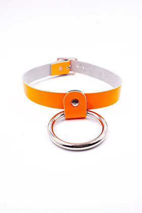 COEXIST ORANGE CHOKER WITH BIG RING ON LEATHER