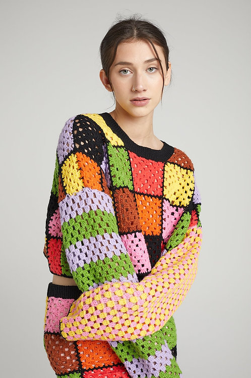 THE RAGGED PRIEST SQUARE KNIT PATCHWORK SWEATER