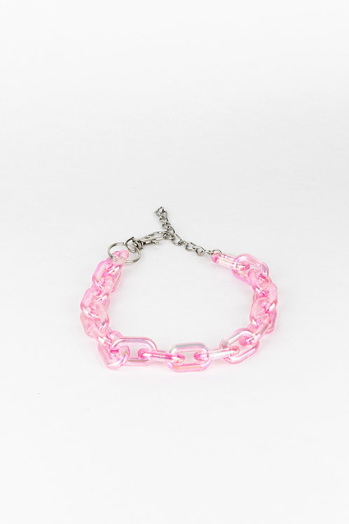 LUI TRASH PLASTIC CHAIN NECKLACE PINK HOLO