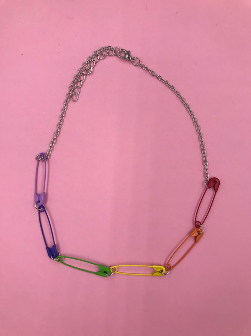 EXIT RAINBOW SAFETY PIN NECKLACE