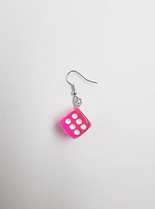 PINK DICE EARRING