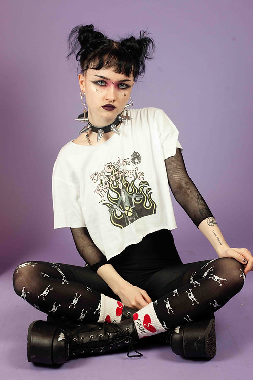 WILDA WOLF GIRL ON A MOTORCYCLE CROPPED T-SHIRT