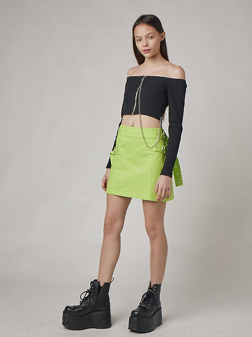 THE RAGGED PRIEST GREEN BUCKLE SKIRT