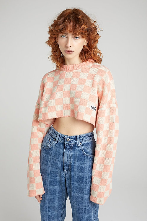 THE RAGGED PRIEST PINK BEIGE CHECKED CROP SWEATER