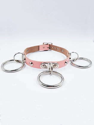 COEXIST BABY PINK CHOKER WITH BIG RINGS