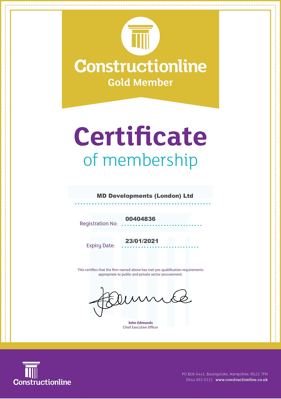 Constructionline Gold Certificate 230121