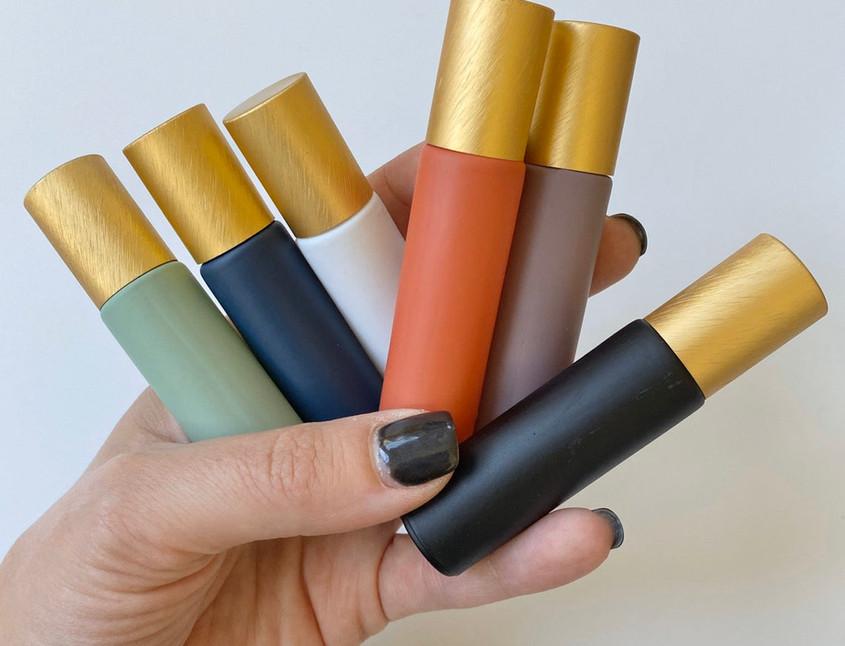 Matte Essential Oil Colored Glass Roller Bottles