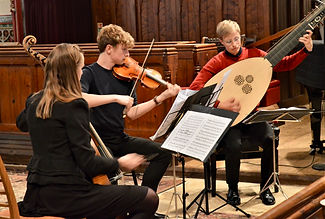 Sarah Small and her Early Music Ensemble performing at Brixworth in 2019
