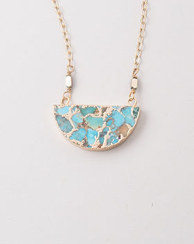 The Lemonade Boutique Lexis Turquoise Half Moon Necklace