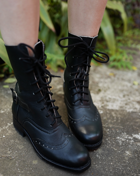 Atitlan Leather Black Leather Lace Up Victorian Boots for Women.