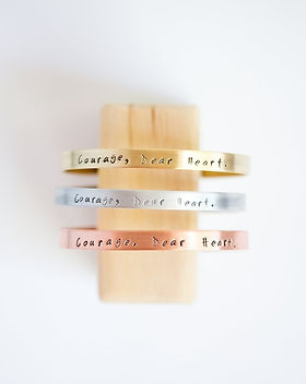 Give a Damn Goods Courage Dear Heart Metal Bracelet. Affordable ethical jewelry. https://giveadamngoods.com/collections/affordable-ethical-jewelry
