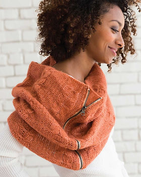 Noonday with Julie Godshall Cozy Zippered Fair Trade Peach Winter Scarf.