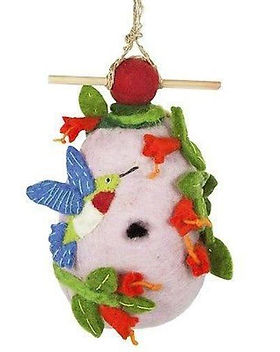 The Village Country Store hummingbird birdhouse. Fair trade and handmade using felting techniques. https://www.thevillagecountrystore.com/search?type=product&q=birdhouse*
