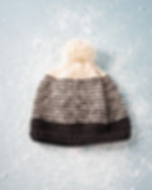 Trades of Hope Snow Top Black and Ivory Stripe Beanie. Ethically-made by women in Nepal.