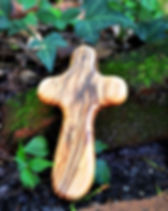 Pal Craftaid Small Wooden Cross.  Handmade out of olivewood by Palestinians. https://www.palcraftaid.org/collections/olivewood