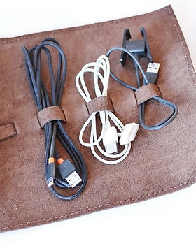 Lazarus Artisan Goods leather travel cord case. Ethically made in Haiti.