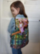 Education and More repurposed fair trade backpack, handmand in Guatemala from repurposed skirts.
