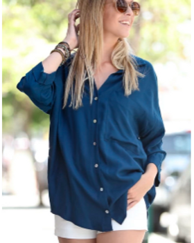 Elegance Restord Zariah Blouse in Navy, Ethically Made in USA. https://www.elegancerestored.com/collections/tops-1
