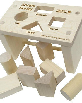 Wild Dill Wooden Shape Sorter Toy. Made in USA.