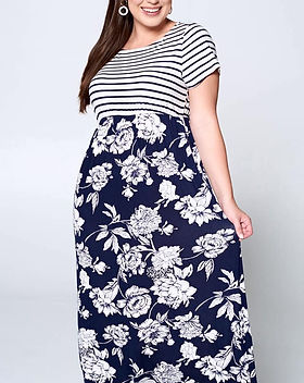 Closets by Jordan Maxi Dress with Blue Stripes and Flowers.