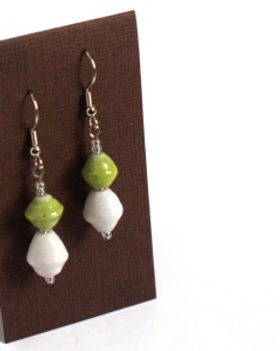 Persona Grata boho paper bead earrings. Made in the USA by refugees. http://personagratagoods.com/product-category/jewelry/