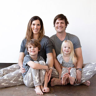 Vickery Trading Co holiday lounge pants for the whole family. Made in the USA b refugees.
