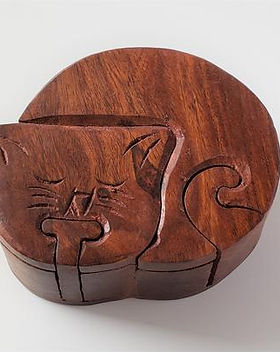 Artruism Imports Cat Puzzle Box. Handcarved and fair trade.