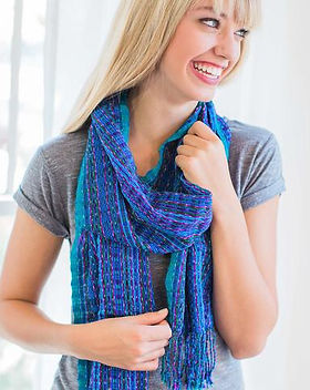 Education and More fair trade handwoven blue scarf.
