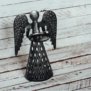 Little by Little Angel Votive Holder.  Handmade metal art from Haiti.