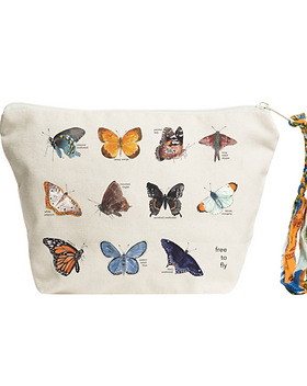 The Tote Project Free to Fly Butterfly Pouch. Gives back to fight human trafficking.