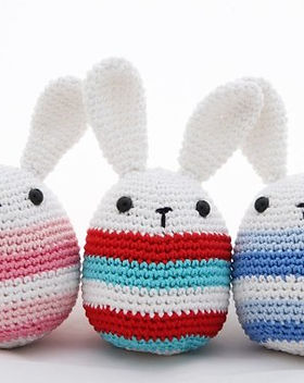 Above Rubies crocheted bunnies. Handmade by mothers in the Phillippines. https://www.etsy.com/shop/2aboverubies?ref=simple-shop-header-name&search_query=bunny