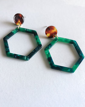 Atonement Design Green Hex Earrings.