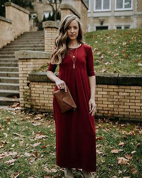 Mango + Main Mahogany Empire Maxi Dress. Fair Trade.