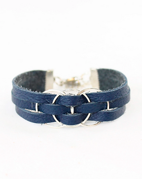 Rethreaded Eternity Leather Bracelet.  Made out of recycled leather from reired airline seat covers, donated by Southwest Airlines and bringing freedom and purpose to human trafficking survivors.