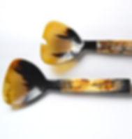 Elisha C. horn salad spoons. Ethically handmade in Haiti. https://elishac.com/collections/home