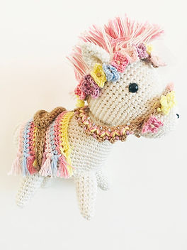 Above Rubies Crocheted Horse.