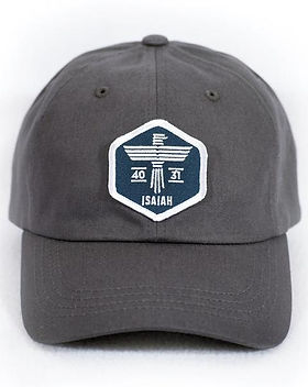 139Made Isaiah dad hat. https://www.139made.com/collections/lifestyle-products/products/isaiah-eagle-gray-dad-hat