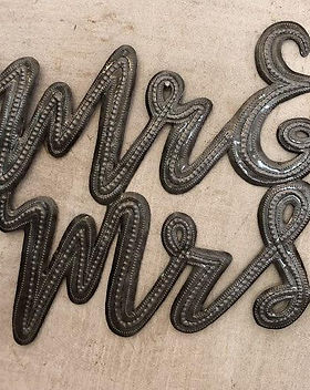 Papillon Mr. & Mrs. Haitian metal art. Fair Trade. https://papillonmarketplace.com/collections/wedding