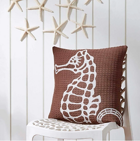 The Village Country Store Seahorse Pillow, beach house decor.