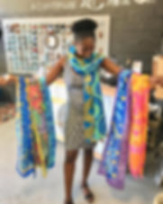 2nd Story Goods hand painted scarves. Made with love in Haiti. https://www.2ndstorygoods.com/collections