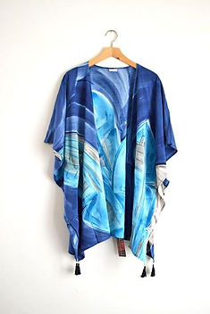 Elisha C watercolor kimono. Hand-painted in Haiti. https://elishac.com