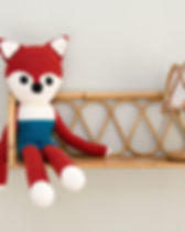 Fair Tribe Large Handmade Fox, Knited by Syrian Refugee Moms.