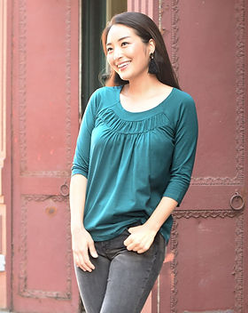 Elegantees Ember Tee in Teal Ethically Made in Nepal by Survivors of Human Trafficking.