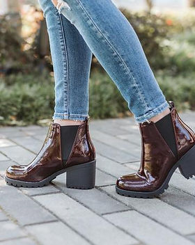 Purpose Boutique Oxblood Patent Boots.