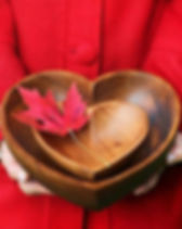 Fair Tribe Fair Trade Carved Acacia Wood Heart Bowl.