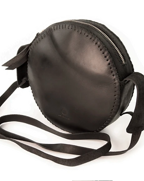 3 Strands Shop On the Go Black Leather Canteen Bag